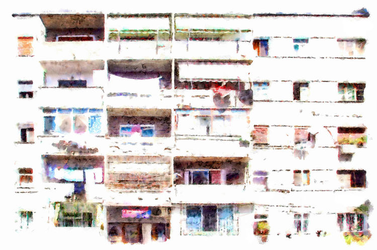 Facade of an Albanian palace Albania Art Backgrounds Balconies Building Building Exterior Close-up Digital Art Digital Painting Facade Building Full Frame Multi Colored Watercolor Watercolor Painting Windows