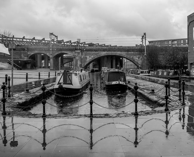 Narrowboats, Potato Wharf, Castlefield, Manchester Manchester In Manchester Black And White Monochrome Architecture Industrial Industrial Landscapes Canals Castlefield