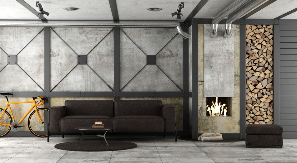 Flame SOFA TIME Architecture Bicycle Domestic Room Fire Wood Fireplace Footstool Furniture Indoors  Industrial Style Living Room No People Pipes Sofa Wall Wall - Building Feature