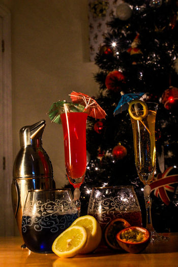 NYE Coctails! Christmas Celebration Fruit Red Drinking Glass Alcohol Christmas Decoration Drink No People Christmas Ornament Indoors  Freshness First Eyeem Photo Photooftheday Photooftheweek Drinks Colours Shaker Penguin
