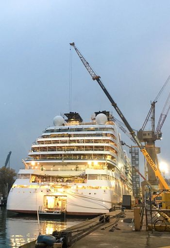 In the making. During Construction Build It Nautical Vessels Italy Preparing Getting Ready Under Construction... Merchant Navy Maritime Life Maritime Photography Maritime Nautical Nautical Vessel Ships Mestre Venice Amazing Ship Harbour Seabourn Encore Ship Building Cruise Ship Transportation Mode Of Transport Freight Transportation No People Clear Sky Day Outdoors Sky EyeEm Ready   EyeEmNewHere