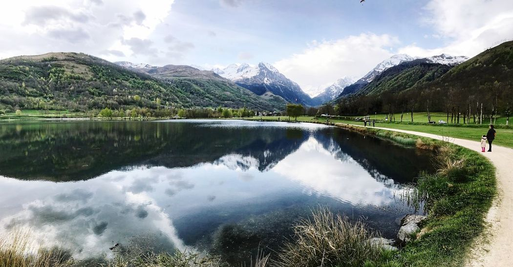 Mountain Lake Beauty In Nature Reflection Water Nature Tranquil Scene Sky Tranquility Cloud - Sky Scenics Outdoors Mountain Range Day Idyllic No People Landscape Waterfront Green Color Grass Time For Nature EyeEm Best Shots Best EyeEm Shot Exceptional Photographs Eye4photography
