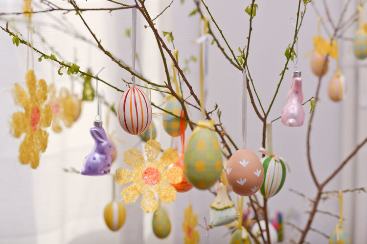 Close-up of easter eggs hanging by twigs at home