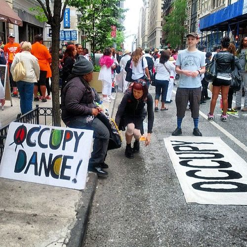 Lined up on E21 St getting ready for DanceParadeNYC OWS Occupy Dance Dancing NYC