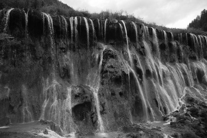 Black & White China China National Parks JiuZhai Jiuzhaigou Landscape Mountain Range Natural Pattern Nature Photography Nuorilang Nuorilang Falls NuorilangWaterfall Sichuan Travel Photography Traveling Traveling In China Voyages Water Waterfall Waterfalls