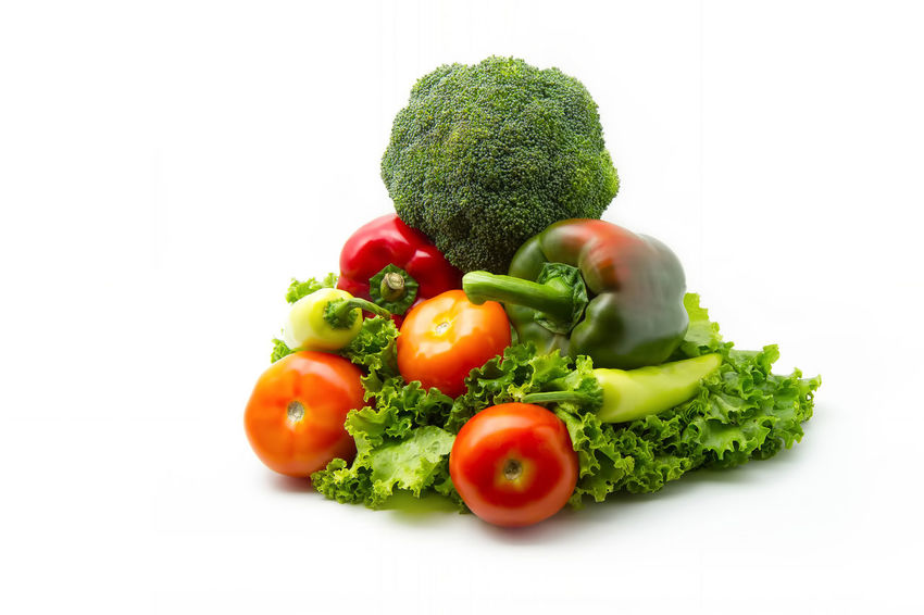 various vegetables (broccoli, tomatoes, bell pepper, lettuce leaves) on white background Agriculture Bell Bellpepper Bright Broccoli Cabbage Colorful Cooking Cuisine Art Culinary Diet Meal Food Food And Drink Fresh Freshness Healthy Eating Healthy Food Ingredient Nutrition Paprika Salad Sweet Food Tomato Vegetable Vegetarian Food