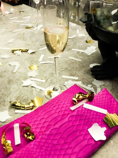 After The Party New Year Handbag  Glass Alcohol Table Drink Refreshment Food And Drink Wine Champagne Pink Color Drinking Glass Wineglass No People