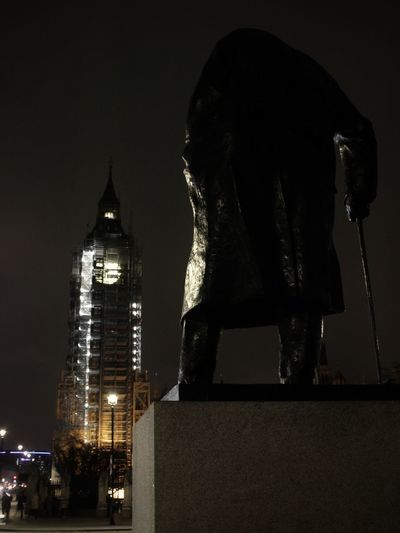 Old man and old clock Architecture Built Structure Illuminated Night Building Exterior Statue No People Sculpture Low Angle View London Streets England, UK Urban Landscape London At Night  The Week On EyeEm Arts Culture And Entertainment Night Lights Destinations Big Ben City Low Angle View Architecture Outdoors Big And Small Optical Illusions Sky Be. Ready. Adventures In The City HUAWEI Photo Award: After Dark