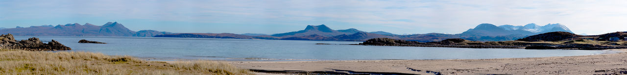 Photo Merge Photography Scotland 💕 Snow Capped Mountains Day Daylight Landscape Mountain Mountain Range Nature No People No People, Outdoors Panoramic Sandy Beach Scenics Sky View From Mellon Udrigle Beach Water Beauty In Nature Sea