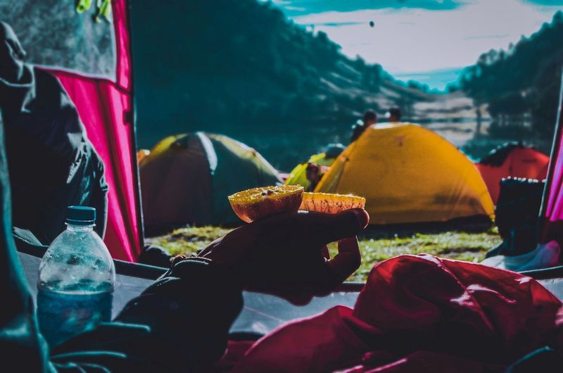 Cropped hand having food in tent