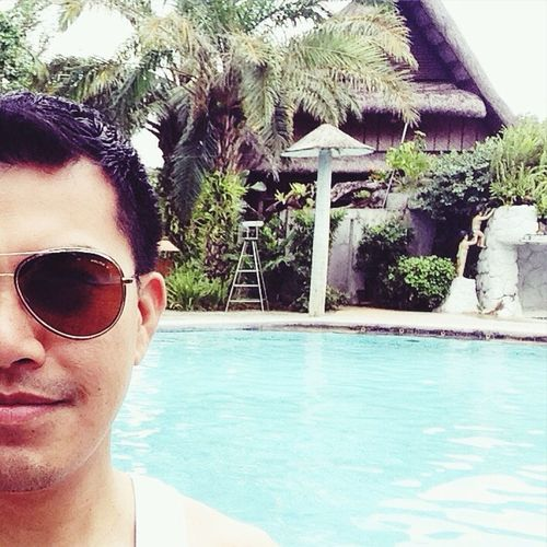 - if you can travel, Fly. If you can Explore, Walk. If you can Smile, Laugh but if you cant swim, CLICK!!! Not Selfie, It Is Halfie Pool Time Swimming Pool Peace And Quiet Relaxing Time Villa Escudero Pool Area Shades Of Blue