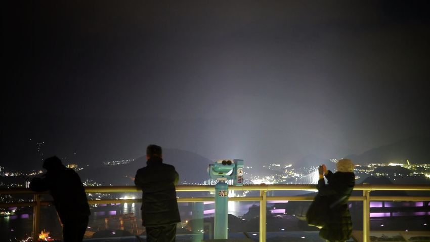 Night Watch IV : Mt. Inasa (South : Megami ohashi ) Observatory 16:9 Crop Night Lights HDR People Watching 50mm prime Lens. Good Night from Nagasaki City, Japan