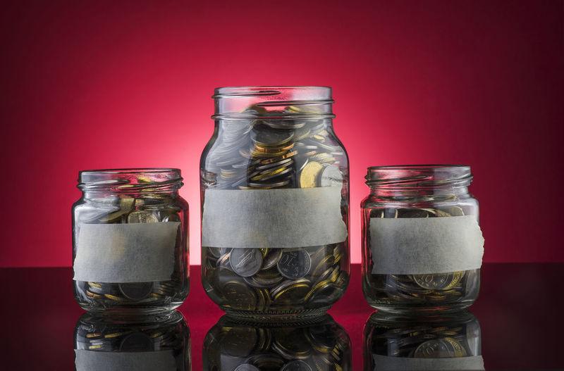 A coin in a jar