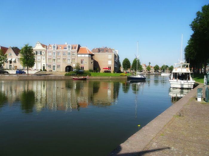 Clear Sky Water Transportation Reflection Riverbank Waterfront Architecture Marina Medemblik Tranquil Scene