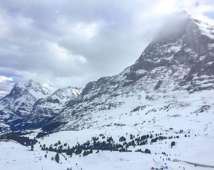 Mystical Eiger's nord side 🏞🌫 Schweiz Switzerland Eigernordwand Snow Nature Scenics Sky Cloud - Sky Frozen Landscape Outdoors Tranquility Mountain Peak