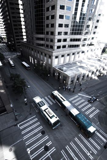 High angle view of vehicles on city street