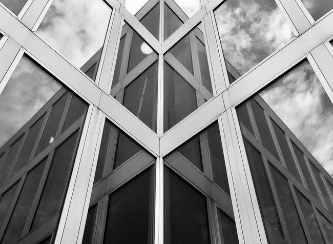 EyeEm Selects Architecture Built Structure Building Exterior Window Low Angle View Full Frame Backgrounds Modern No People Day Outdoors Sky Glass Reflection EyeEm Best Shots Blackandwhite Shadow 2017 Accademia Mendrisio Switzerland EyeEm Gallery