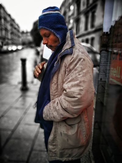 One Person Adult Casual Clothing Warm Clothing Strangers In Transit Waiting For The Bus Real People Streets Of Glasgow