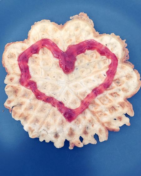 Heart Shape Food Love Food And Drink Indoors  Ready-to-eat Healthy Eating No People Freshness Close-up Wholegrain Day Waffle Waffle Time Love Heart Playing With Food