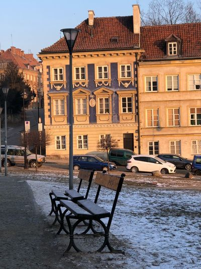 Beautiful morning light in Warsaw Winterday Bench Morning Light Building Exterior Chair Outdoors Built Structure No People Sky City
