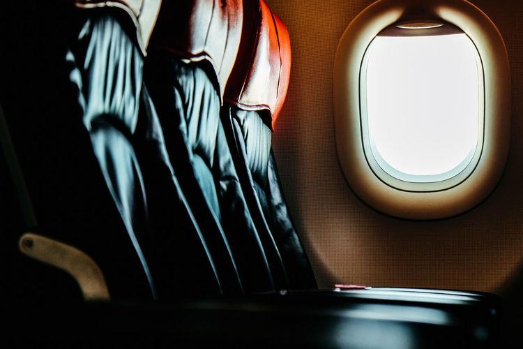 Close-up of airplane window