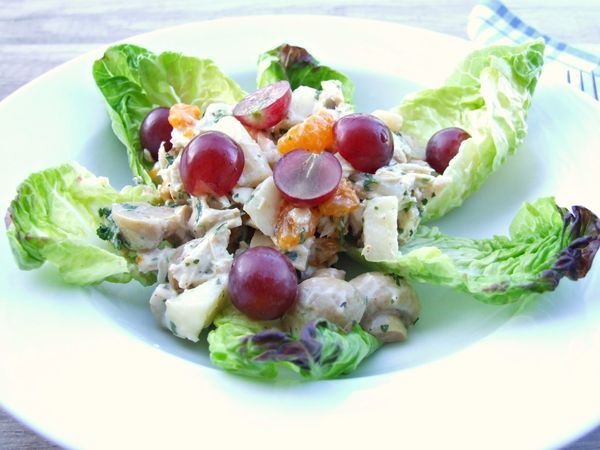 Chicken Salad Close-up Day Food Food And Drink Freshness Grapes Healthy Eating Indoors  Leaf Lettuce Mushrooms No People Plate Ready-to-eat Salad Tomato
