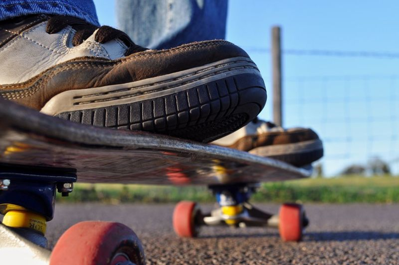 Close-up of skateboard