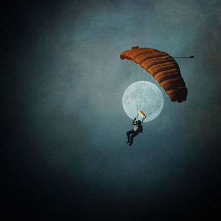 Adult Adventure Blue Extreme Sports Fly Flying Flying High Man Moon Moonlight Moonlit One Person Outdoors Outside Parachute Parachuting Paragliding People Red Sky Skydiver Skydiving Sport Sports Transportation Adapted To The City Miles Away Flying High