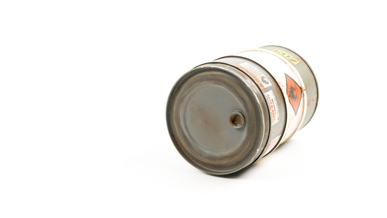 white background, metal, single object, no people, studio shot, lid, close-up, can, indoors, day