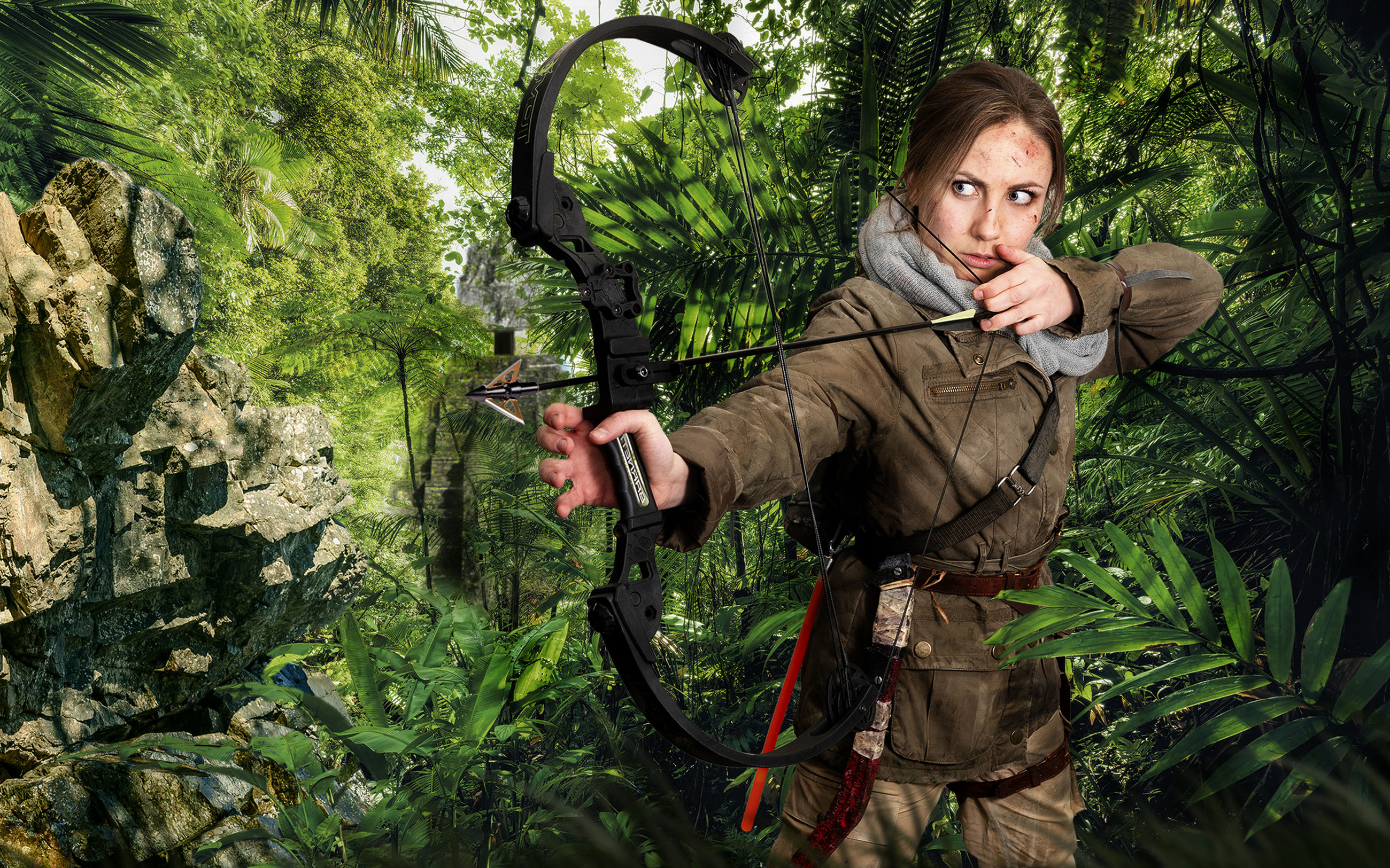 one person, young adult, tree, holding, forest, adult, looking at camera, portrait, young women, land, weapon, plant, lifestyles, nature, real people, women, hunting, communication, clothing, hunter, beautiful woman