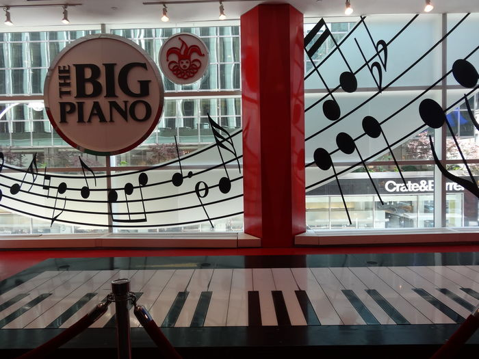 FAO Schwarz NYC Piano The Big Piano Architecture Building Exterior Built Structure Close-up Communication Day Hanging No People Outdoors Text