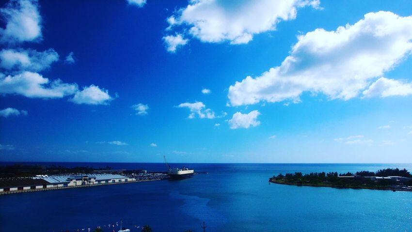 Sea Sky Scenics Cloud - Sky Water Blue Beauty In Nature Tranquility Tranquil Scene Horizon Over Water Nature Outdoors No People Day Travel Destinations Nautical Vessel Beach Honolulu, Hawaii Sand Island Kakaako Harbor View