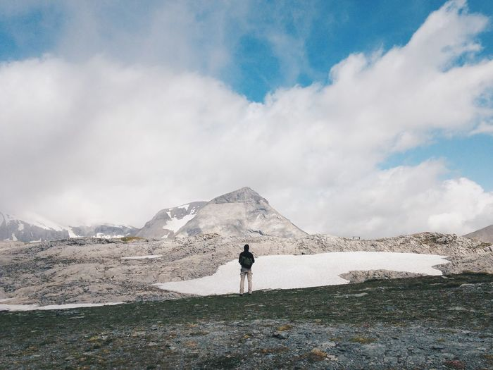 Alps Back Cloud Clouds And Sky Glacier Hiking Landscape Lifestyles Mountain Mountain Range Mountain View Nature Outdoors People Rock Scenics Sky Standing The Great Outdoors - 2016 EyeEm Awards Tranquility Nature's Diversities Original Experiences Feel The Journey Fine Art Photography Adventure Club Long Goodbye The Secret Spaces Neighborhood Map BYOPaper!