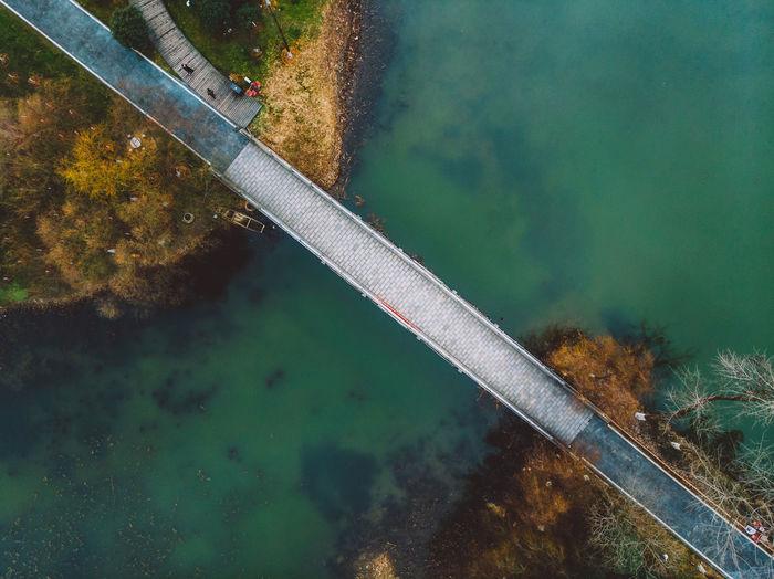 High angle view of bridge over lake