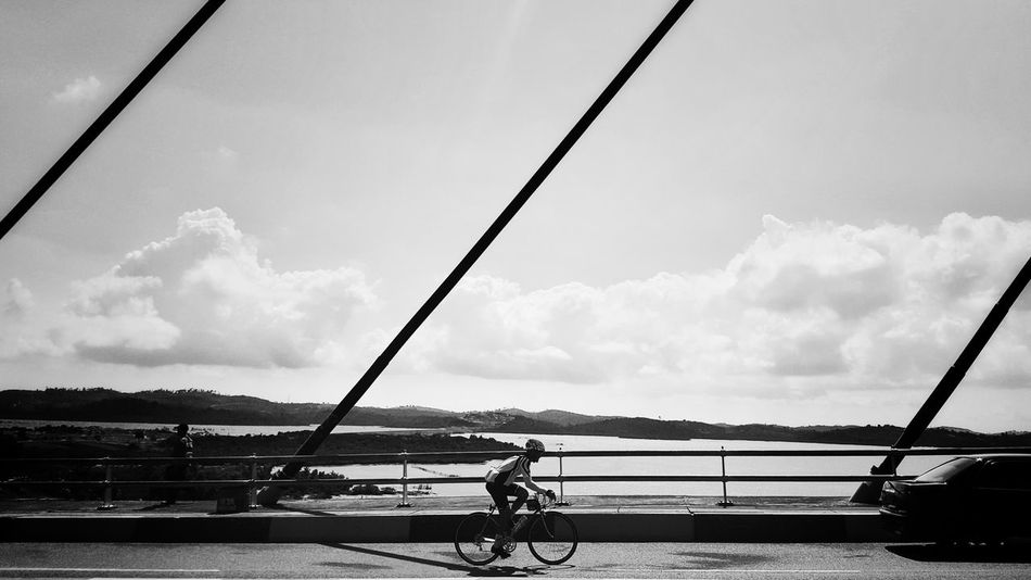 To ride between the lines Bycicle Cycling Bridge Black & White Ride A Bike  One Person Day Outdoors EyeEm Selects