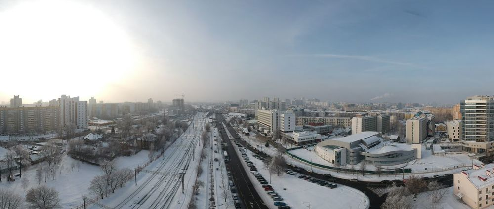 City Architecture Built Structure Building Exterior Transportation Sky Winter No People Nature Building High Angle View Office Building Exterior Mode Of Transportation Cityscape Road Snow Cold Temperature Motor Vehicle Land Vehicle Car
