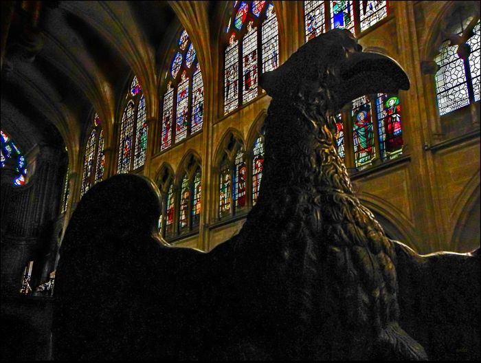 St. Severin, Paris _ 5/19/15 Art And Craft Close Up Colorful Depth Of Field Eagle Statue Full Frame Indoors  Near To Far Old Architecture Spirituality Stained Glass Windows
