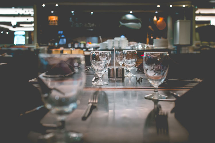 Glass of wine on table at restaurant
