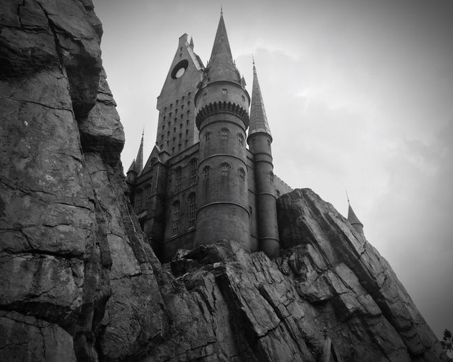 Low Angle View Universal Studios  Wizarding World Of Harry Potter Black And White Hogwarts School Of Witchcraft And Wizardry
