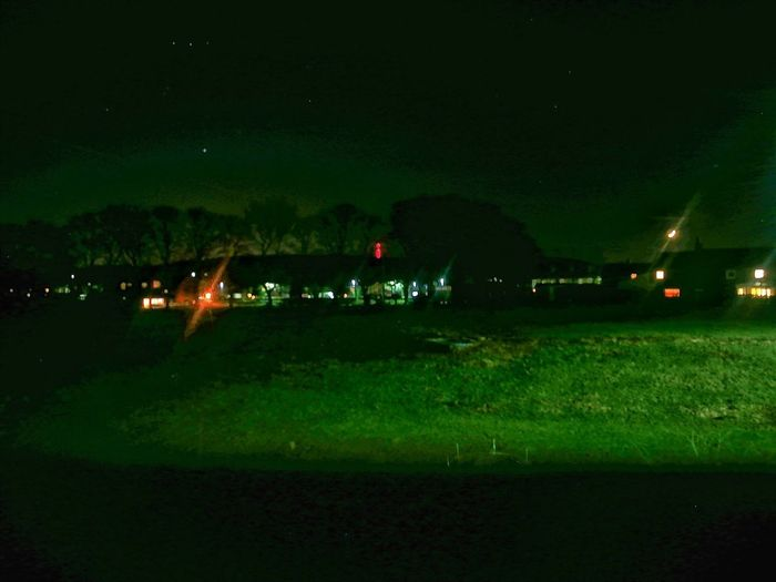 Night Shot Moon Bedroom Window Illuminated Sky Green Color