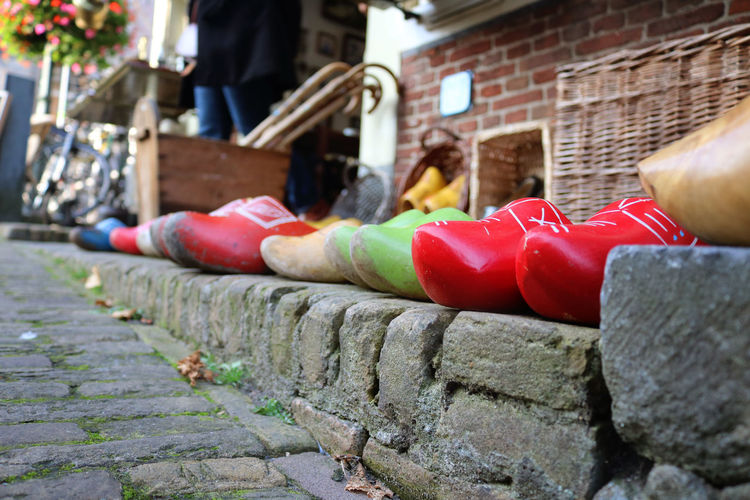 Colors Delft, Netherlands Netherlands Close-up Colorful Day Europe Holland No People Outdoors Red Street Scene Streetphotography Wooden Shoes