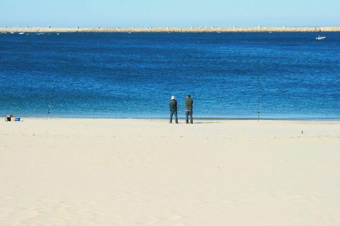 Beach Beachphotography Standing Watching Blue Sea Mans Friends