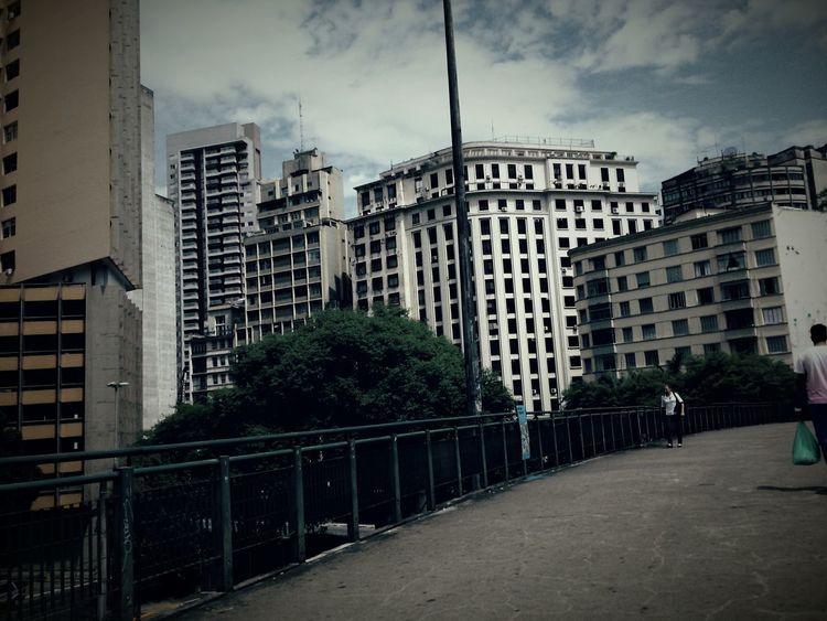 São Paulo Anhangabau Bridge Street Urban Geometry Buildings City