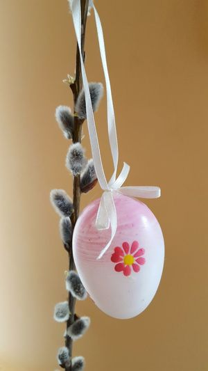 Close-Up Of Pink Easter Egg Hanging On Plant Against Yellow Background