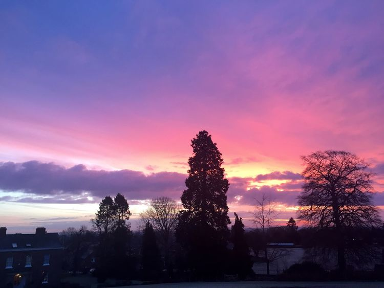 Sunrise before school Good Old Days Love Oswestry School Memories Morning Oswestry Sky Silhouette Nature Cloud - Sky Purple Pink Color First Eyeem Photo