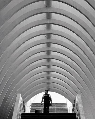 Rear view of man on escalator
