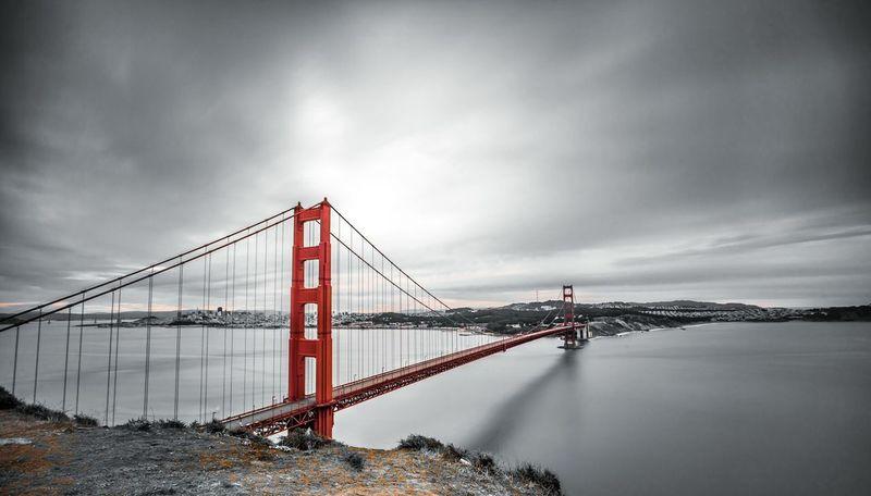 Goldengate Bridge San Francisco River Landscape Blackandwhite City