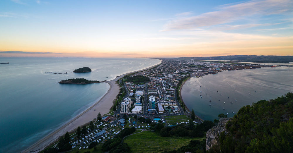Sunset view from Mt Manganui. Architecture City Cityscape Colorful Dawn High Angle View Hill Landscape Long Exposure New Zealand No People Outdoors Scenics Sea Sunset Tourism Travel Travel Destinations Vacations