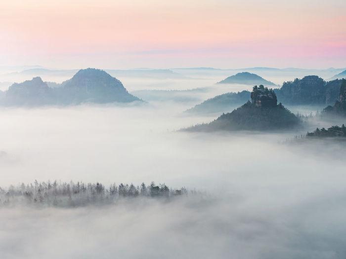 Fabulous winterstein, also called hinteres raubschloss or raubstein. it is a sandstone massif, butte