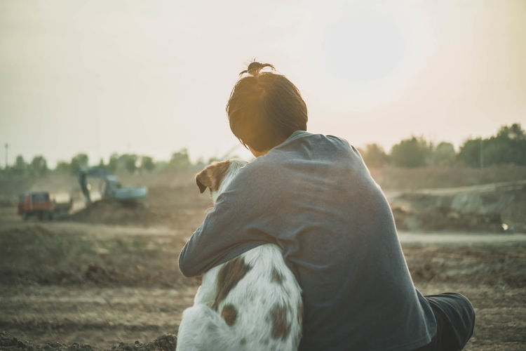 my best friend Light And Shadow Child Dog Sunset Leisure Activity Lifestyles Sky Real People EyeEmNewHere.